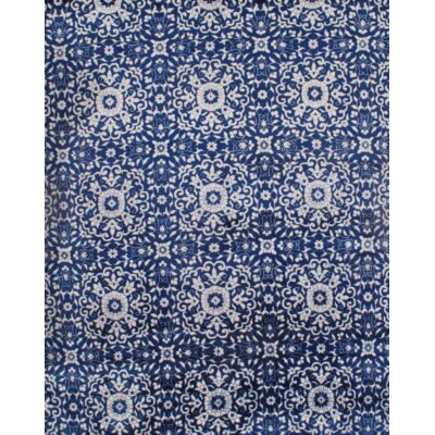 Indo Modern Hand-Knotted Silk Blue/White Area Rug