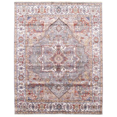 Serapi Design Hand-Knotted Wool Gray/Beige Area Rug