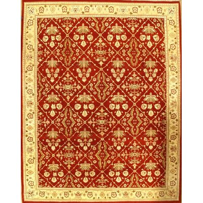 Agra Allover Hand-Knotted Wool Rust/Yellow Area Rug