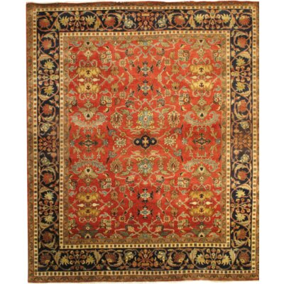 Heriz Fine Design Hand-Knotted Wool Rust/Black Area Rug