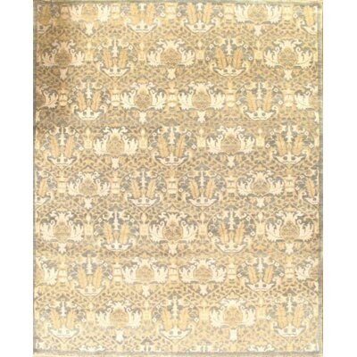 Ikat Modern Hand-Knotted Wool Beige Area Rug