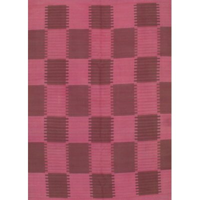 Scandinavian Design Hand-Knotted Wool Pink/Gray Area Rug