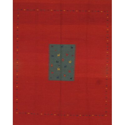 Gabbeh Sumak Weave Hand-Knotted Wool Red/Gray Area Rug