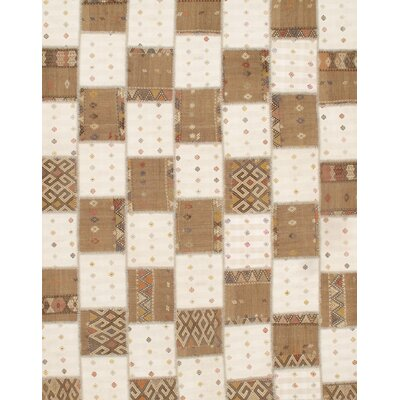 Turkish Patchwork Hand-Knotted Wool Brown/White Area Rug
