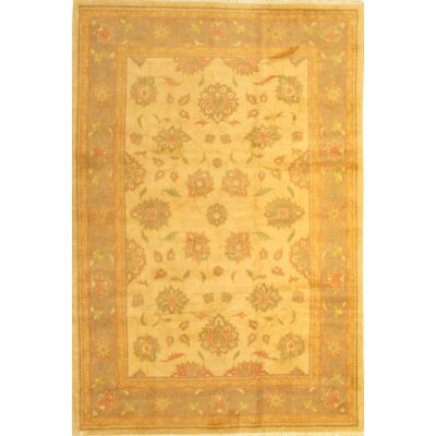 Persian Sultanabad Hand-Knotted Wool Yellow Area Rug