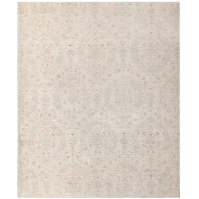 Tabriz Design Hand-Knotted Wool Beige Area Rug