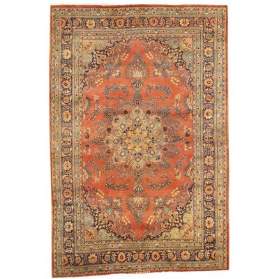 Persian Mashad Hand-Knotted Wool Rust/Blue Area Rug