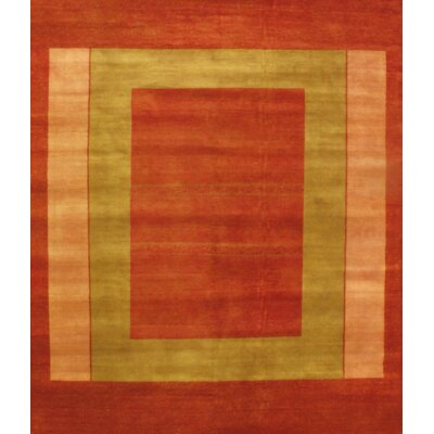 Gabbeh Lori Baft Hand-Knotted Wool Rust/Green Area Rug
