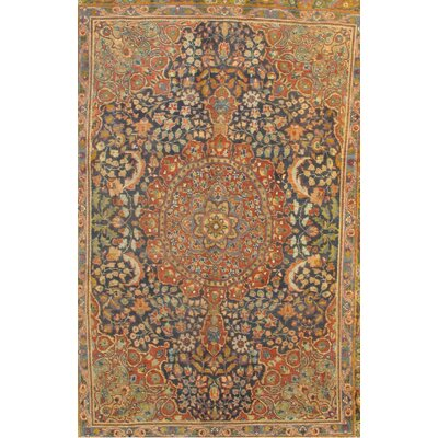 Antique Persian Tabriz Hand-Knotted Wool Brown/Blue Area Rug
