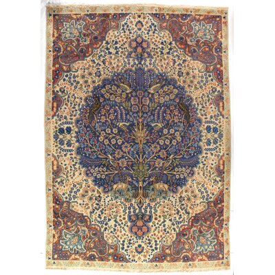 Persian Tabriz Antique Hand-Knotted Wool Ivory/Blue Area Rug