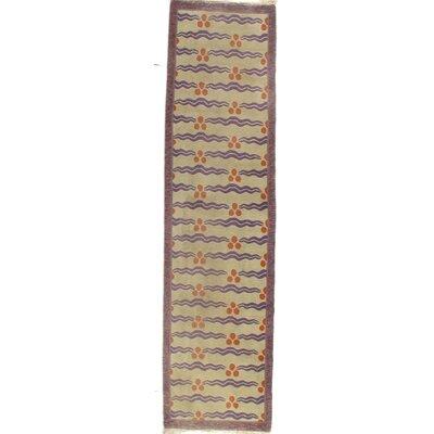 Tibetan Modern Runner Hand-Knotted Wool/Silk Ivory Area Rug