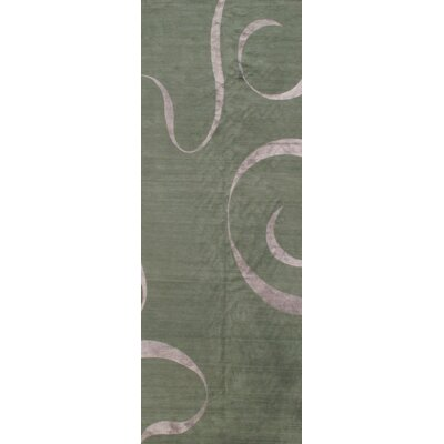 Nepal Modern Hand-Knotted Silk/Wool Green Area Rug