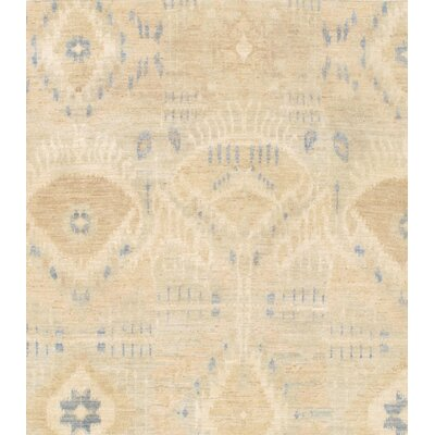 Modern Ikat Design Hand-Knotted Lambs Wool Beige Area Rug