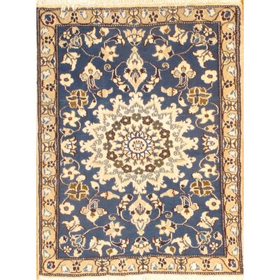 Genuine Persian Nain Hand-Knotted Silk/Wool Blue Area Rug
