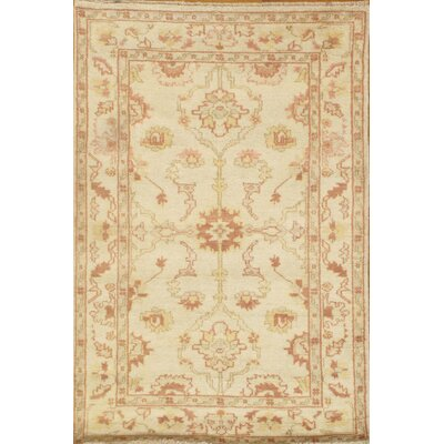 Genuine Oushak Design Hand-Knotted Wool Ivory Are Rug