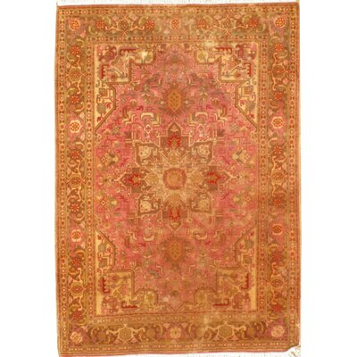 Genuine Fine Persian Tabriz Heriz Design Hand Knotted Wool Pink/Orange Area Rug