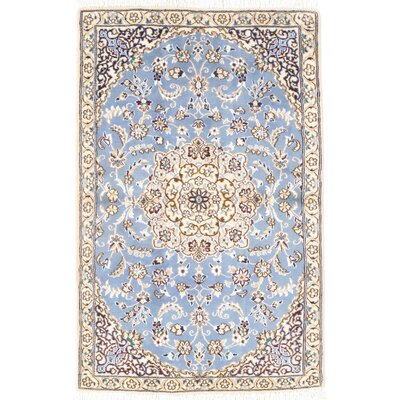 Genuine Persian Hand Knotted Wool/Silk Blue/Ivory Area Rug