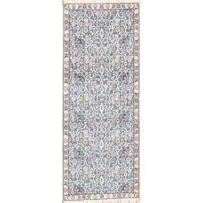 Genuine Persian Nain Hand-Knotted Lambs Wool/Silk Blue/Beige Area Rug