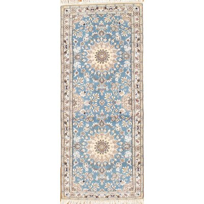Genuine Persian Nain Hand-Knotted Wool/Silk Blue/Beige Area Rug