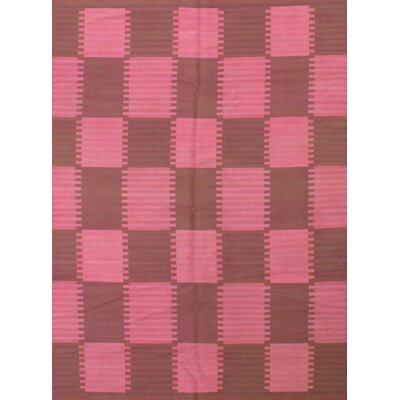 Scandinavian Design New Zealand Overdyed Hand-Knotted Wool Pink/Brown Area Rug