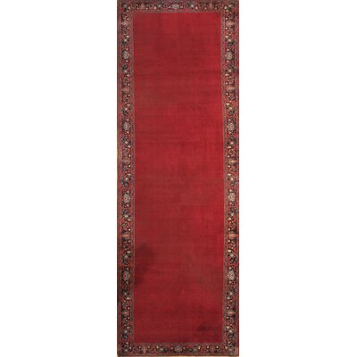 Semi-Antique Persian Mashhad Hand-Knotted Wool Red Area Rug