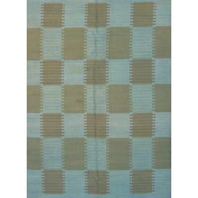Scandinavian Design Overdyed Hand-Knotted Wool Blue/Beige Area Rug