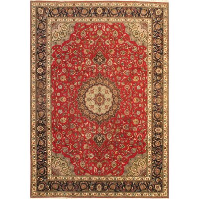 Persian Tabriz Hand-Knotted Silk/Wool Pile Rust/Red Area Rug