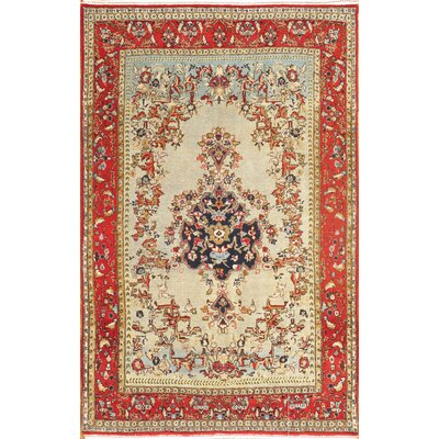 Genuine Semi-Antique Fine Qum Hand-Knotted Wool Ivory Area Rug