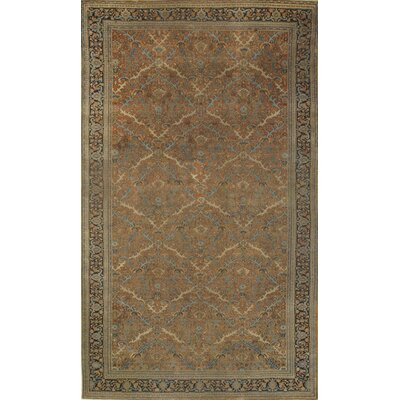 Genuine Antique Persian Hand-Knotted Wool Beige Area Rug