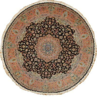Genuine Persian Tabriz Raj Hand-Knotted Wool Orange/Black Area Rug