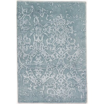 Genuine Modern Hand-Knotted Wool Blue Area Rug