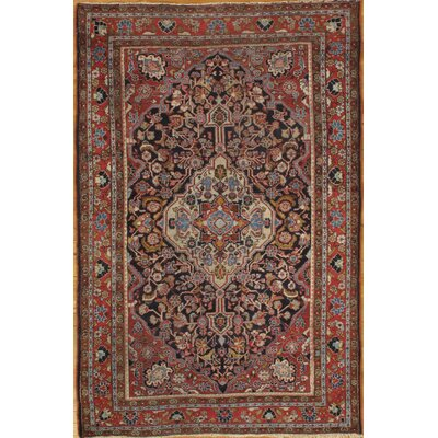 Genuine Antique Persian Hand-Knotted Wool Red Area Rug