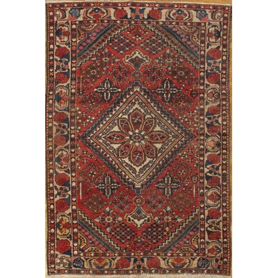 Genuine Antique Persian Bakhtiari Hand-Knotted Wool Rust Area Rug