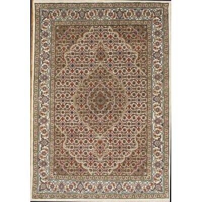 Tabriz Mahi Hand-Knotted Wool Ivory Area Rug