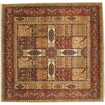 Tabriz Genuine Fine Design Hand Knotted Wool Rust Area Rug Rug Size: Rectangle 9 � 93