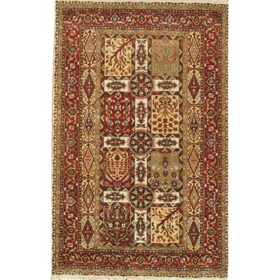Tabriz Genuine Fine Design Hand Knotted Wool Rust Area Rug Rug Size: Rectangle 61 � 92