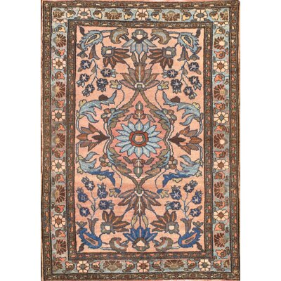 Antique Persian Hand-Knotted Wool Peach Area Rug