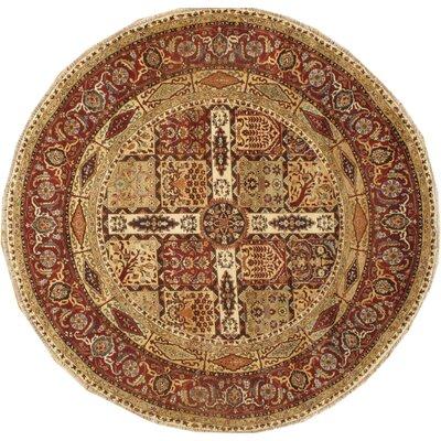 Tabriz Genuine Fine Design Hand Knotted Wool Rust Area Rug Rug Size: Round 6 � 6