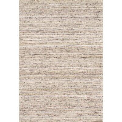 Modern Flat Hand-Knotted Sari Silk Beige Area Rug