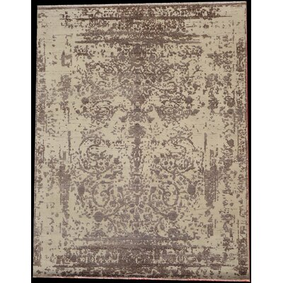 One-of-a-Kind Genuine Modern Hand-Woven Silk/Wool Beige Area Rug
