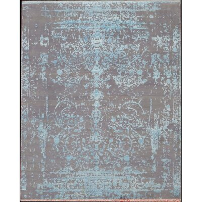 One-of-a-Kind Genuine Modern Hand-Knotted Silk/Wool Taupe Area Rug