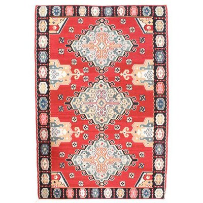 Sino Shiraz Kilim Hand-Woven Wool Red/White Area Rug