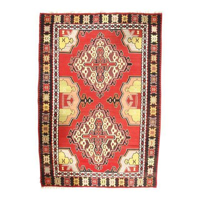 Turkish Kilim Hand-Woven Wool Red/Yellow Area Rug