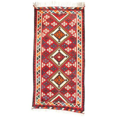 Antique Persian Shiraz Kilim Hand-Woven Wool Red/Orange Area Rug
