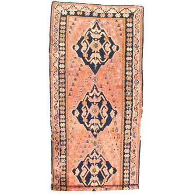 Antique Russian Kazak Kilim Lambs Hand-Knotted Wool Peach/Navy Area Rug
