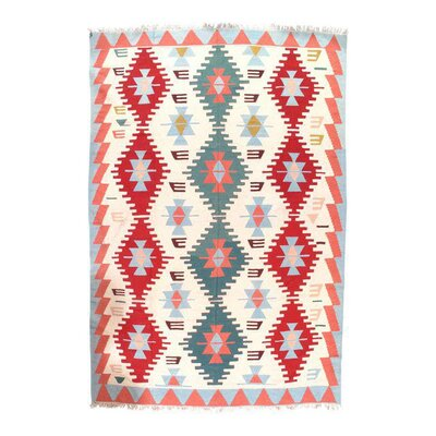 Turkish Kilim Hand-Woven Wool Ivory/Red Area Rug