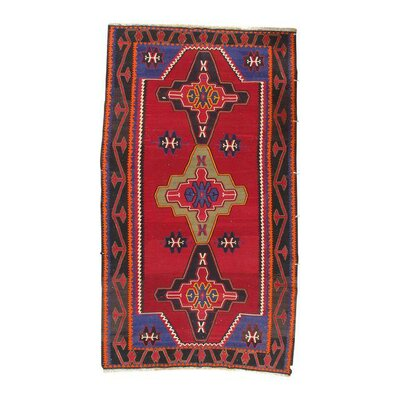 Russian Kazak Lambswool Hand-Knotted Red/Black Area Rug