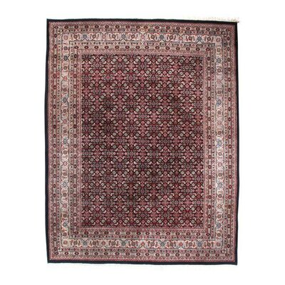Herati Hand-Knotted Wool Brown Area Rug