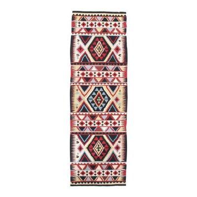 Turkish Kilim Hand-Woven Wool Red/Black Area Rug