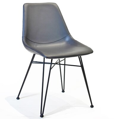 Odette Side Chair in Dark Gray PU Leather
